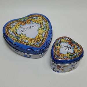 Brighton Heart Jewelry Tins Blue Yellow Box